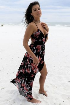 Black maxi dress features front slit, bodysuit underneath, and is not lined Material is Rayon Made in the USA Side Leg Slit Model Ayla is wearing a medium Bust Length Small 59 Medium 60 Large 61 Happy Together, Black Maxi, Wrap Dress, Bodysuit, Legs, Summer Dresses, Party, Model, How To Wear