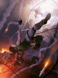 Fight of the Fallen - Bionic Commando concept art by Daniel Conway Fantasy Landscape, Fantasy Art, These Broken Stars, Art Science Fiction, Art Cyberpunk, Art Et Illustration, Illustration Pictures, Video Game Art, Video Games