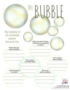 Self care - My Bubble - visualization & alternative thinking strategy for Anxiety & Stress (CBT, DBT, Meditation,Mindfulness) therapy activities autism Counseling Activities, Art Therapy Activities, School Counseling, Bullying Activities, Counseling Worksheets, Emotions Activities, Physical Activities, Self Care Activities, Coping Skills Activities