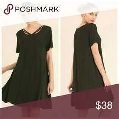So Cute Black Dress Relaxed Fit A Line Flowy Dress with Neckline Detail.   55% Cotton 45% Polyester Dresses