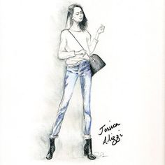 Been meaning to draw @jessalizzi for ages! Always great outfits loves double denim as much as I do and I can't wait to see what she's wearing to @_msfw_ I'll try and track down some street style stars to illustrate for you all! #msfw #fashion #fashionillustration #streetstyle #fashionblogger