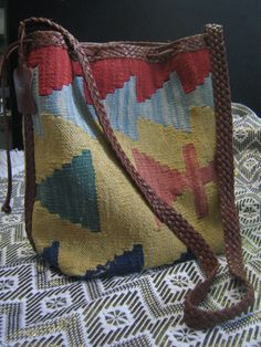1970s Loom Woven Kilim and Braided Leather Bag door RarebitRecords
