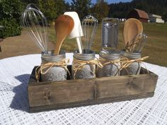 Rustic Utensil Holder wedding gift kitchen decor mason jar