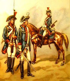 Epoka stanisławowska: Regiment Konny im. Królowej 1779-89 r. Od lewej: dragon, oficer, dragon. Rys. B. Gembarzewski.