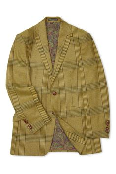 A contemporary take on a hacking jacket, this two-button sports coat is cut from mustard wool jacketing with a tonal glencheck pattern, fabric woven by Hanly in Ireland. Sport Coat, Woven Fabric, Suit Jacket, Blazer, Wool, Pattern, Jackets, Men, Clothes