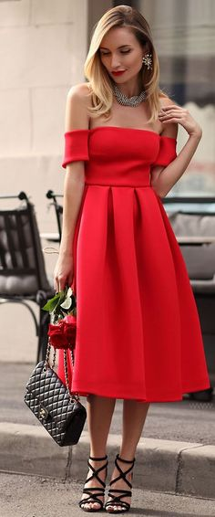 Postolatieva Off Shoulder Red Midi Dress Fall Street Style Inspo #Fashionistas