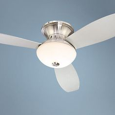 This Encore® hugger-style ceiling fan from Possini Euro Design features a trim and compact design, making it ideal for use in smaller rooms.