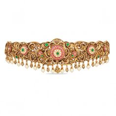 Heirloom-worthy bridal jewelry, Flaunt this unique piece of antique finish vaddanam or oddiyanam embellished with Kemp stones. This does not include the back belt, please contact customer care to know about the price and the weight details. Gold Jewelry Simple, 18k Gold Jewelry, Bridal Jewelry, Antique Jewellery Designs, Gold Jewellery Design, Vaddanam Designs, Waist Jewelry, Bold Necklace, Short Necklace