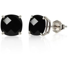 Belk  Co. Black Checkerboard Cushion Black Onyx Stud Earrings In 10K... ($158) ❤ liked on Polyvore featuring jewelry, earrings, black, earring jewelry, black onyx earrings, white gold stud earrings, white gold jewelry and black onyx jewelry