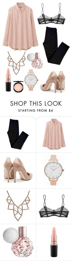 """#5"" by queen-ken ❤ liked on Polyvore featuring J Brand, Uniqlo, Rupert Sanderson, Olivia Burton, Chicnova Fashion, Maison Close and MAC Cosmetics"