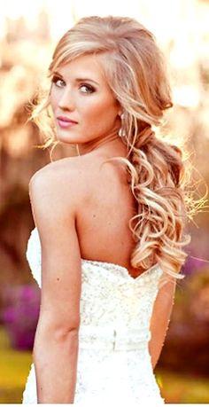 Bride's beautiful long soft curls half up bridal bridesmaid hair ideas  Toni Kami Wedding Hairstyles ♥ ❶