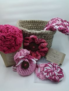 Crochet Spa Basket 1 loofah 1 face towel 1 basket with