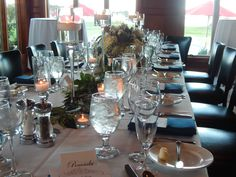 Beautiful wedding rehearsal dinner natural table scape at Wentworth By The Sea Country Club
