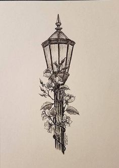 "Lamppost - Original 5 ""x ink drawing - Paul Curry - # . - Lamppost – Original 5 ""x ink drawing – Paul Curry – # 7 & … # - Easy Pencil Drawings, Pencil Sketch Drawing, Ink Pen Drawings, Doodle Drawings, Tattoo Drawings, Drawing Ideas, Drawing Base, Drawing Drawing, Tattoo Ink"