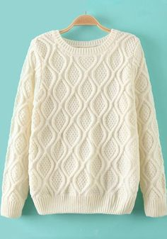 Beige-White Geometric Long Sleeve Sweater - Sweaters - Tops