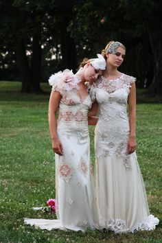 Wedding Gowns by Claire Pettibone - Photo by Good Ship Photography:  at Elizabeth Messina's A Lovely Workshophttp://www.alovelyworkshop.com/ belt: twigs & honey hair & makeup: Gloss Salonlocation: Lauxmont Farms