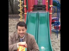 Misha Collins (Castiel) Slides With the SPN Tapeball (3/9/17) - YouTube