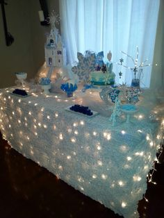 Winter Party Tablecloth Ideas — winter wonderland party table                                                                                                                                                                                 More