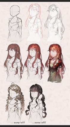 Draw Hair Male/Short hair vs Female/Long hair step by step. Long Hair full version available: here Short Hair full version: *coming soon* - Digital Painting Tutorials, Digital Art Tutorial, Art Tutorials, Anime Drawings Sketches, Manga Drawing, Art Drawings, Drawing Faces, Drawing Skills, Drawing Techniques