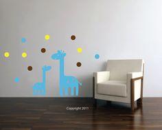 Giraffe and Polka Dots Decal Nursery Babys Room Vinyl Wall Decal Art Mama Baby Giraffe  Dots Nursery Crib Playroom Wall Design  Zoo Animals