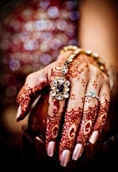 Beautiful Bridal Mehndi or henna design. Bridal manicure and ring. Mehendi, Henna Mehndi, Hand Henna, Indian Henna, Finger Henna, Arabic Mehndi, Mehndi Art, Indian Art, Pakistani Mehndi Designs