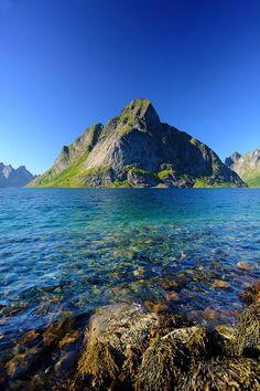 Reine Mountain in Lofoten Island Archipelago, Norway