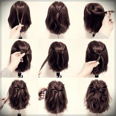 25 fast hairstyles for medium and long hair for every day. 25 fast hairstyles for medium and long hair for every day. 25 fast hairstyles for medium and long hair for every day. 25 fast hairstyles for medium and long hair for every day. Short Hair Styles Easy, Braids For Short Hair, Medium Hair Styles, Curly Hair Styles, Long Ponytails, Twisted Ponytail, Hair Medium, How To Style Short Hair, Short Hair Wedding Styles
