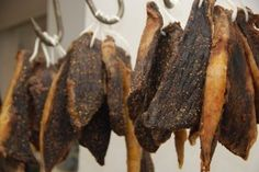 Biltong in our shop ready to be sliced and dispatched.