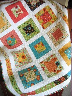 Sweet Jane - San Francisco Window Boxes - PDF Quilt Pattern Lap or Baby size - Quick and Easy by sweetjane - one of her samples uses the Moda Birdie line