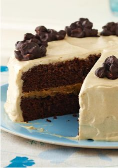 Chocolate Cluster-Peanut Butter Cake – Peanut butter lovers will applaud. But then, who wouldn't love a chocolate cake with nut clusters on top and a creamy PB filling inside?