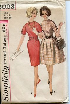 Vintage 1950s 1960s Sewing Dress Pattern by MolecularModern, $8.00
