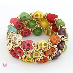 stretch multicolour skull bracelet