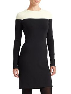 Central Dress - A DEREK LAM 10 CROSBY COLLABORATION. Body-con fitted with a boatneck silhouette and sleek ribbing throughout.