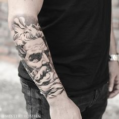 Tattoo Dmitriy Troshin - tattoo's photo In the style Whip Shading, Male, portrai God Tattoos, Forearm Tattoos, Future Tattoos, Body Art Tattoos, Sleeve Tattoos, Tattoos For Guys, Portrait Tattoos, Tattoo Ink, Zues Tattoo
