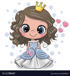 Cartoon princess with hearts on a white background
