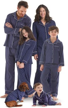 Who says family sets are just for the holidays? With our new Dots-n-Stripes Matching Family Pajamas, you can be picture-perfect all year long! Classic navy pajamas feature polka-dots for the ladies and white stripes for the gents (pets only available in p Pajamas For Teens, Matching Family Pajamas, Matching Pjs, Toddler Pajamas, Cozy Pajamas, Silk Pajamas, Pyjamas, Satin Pyjama Set, Pajama Set