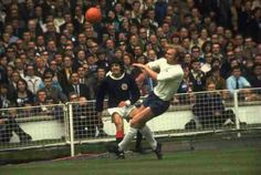 England 3 Scotland 1 in May 1971 at Wembley. Peter Cormack gets his cross over as Bobby Moore comes in to challenge #HomeChamp