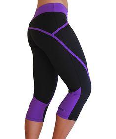 The Elite Capri - Black & Purple Waistband Womens Workout Outfits, Sport Outfits, Cute Outfits, Workout Attire, Workout Wear, Workout Leggings, Women's Leggings, Capri Leggings, Tights