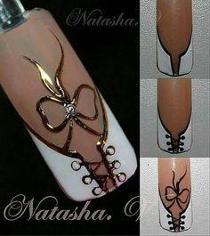 NagelDesign Elegant J adore adore elegant nageldesign nageldesignelegant Corset Nails, Lace Nails, Elegant Nail Art, Elegant Nail Designs, Acrylic Nail Designs, Nail Art Designs, Acrylic Nails, Nagellack Design, Painted Nail Art