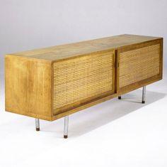 Hans Wegner; Oak, Cane and Chromed Metal Sideboard for RY Mobler, 1964.
