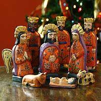 Wood nativity scene, 'Rejoice' (medium, set of 9)