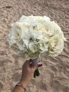 All white magic! Hydrangea bass, roses & orchid pop