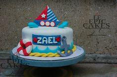 Single layer Nautical theme fondant cake for a boy's 1st birthday