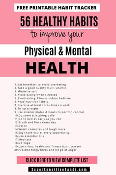 56 Healthy Habits to Improve Your Physical & Mental Health (FREE PRINTABLE PDF) - - Learn how to start a healthy lifestyle today with over 50 healthy eating, healthy living, and mental well-being tips and ideas! Healthy Eating Habits, Healthy Lifestyle Tips, Healthy Tips, How To Get Healthy, How To Be Healthier, Healthy Food, Wellness Tips, Health And Wellness, Mental Health