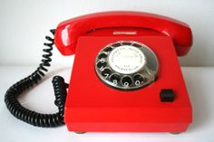 1970s vintage red telephone on Etsy, £38.65