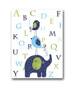 Digital Alphabet Nursery Alphabet Elephant Wall by nataeradownload