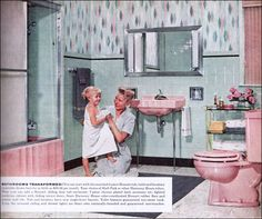 Retro This is a standard pink and green color scheme offered by Sears Roebuck. Until the mid ads by Sears are a rarity, but by 1957 they appear regularly in Better Homes Mid Century Decor, Mid Century House, Vintage Green, Retro Vintage, Vintage Soul, Vintage Graphic, Vintage Vanity, Vintage Barbie, Vintage Bathrooms