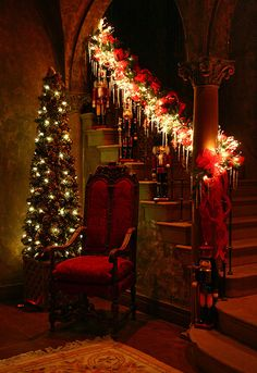 Welcome Santa  - entry hall to a home in Los Angeles!!! Bebe'!!! Awesome holiday decorations for an awesome home!!!