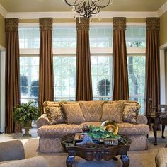I love the column look of these window treatments!!!!