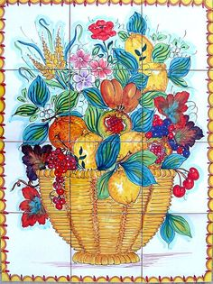 Fruit Basket is 60x80 cm, approx. 23.6x31.5 inches in total size.  The collage consists of 12 tiles each at 20x20 cm, 8x8 inches.  The beauty of the popular Italian fruit such as the Sorrento lemons, grapes and cherry has been hand painted into one collage on ceramic tiles that will make your home more unique. Our Ceramic Glazed Tiles are traditionally used to cover walls where they are used in finishing kitchens, bathrooms, benches, decorative panels, floor applications, pools, fountains…